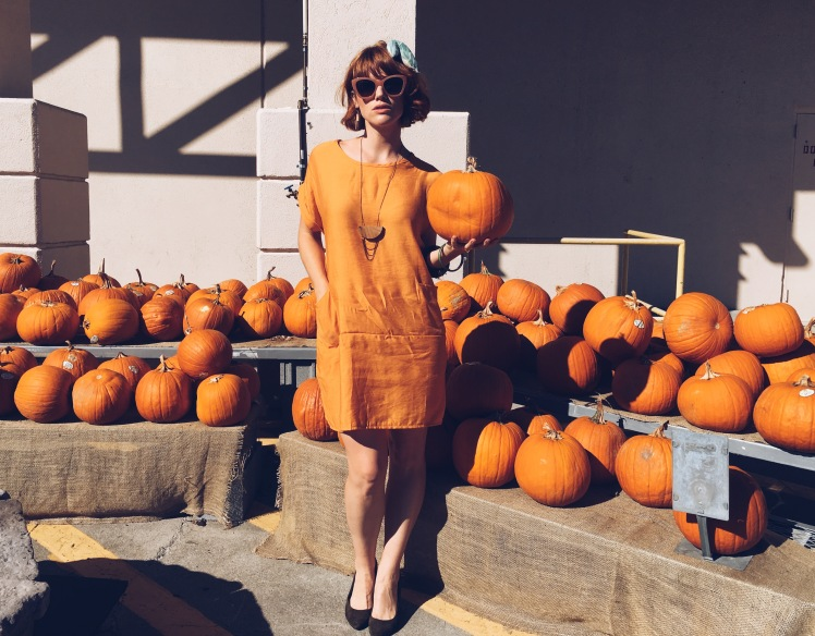 orange, thrifted fashion, halloween, eco fashion