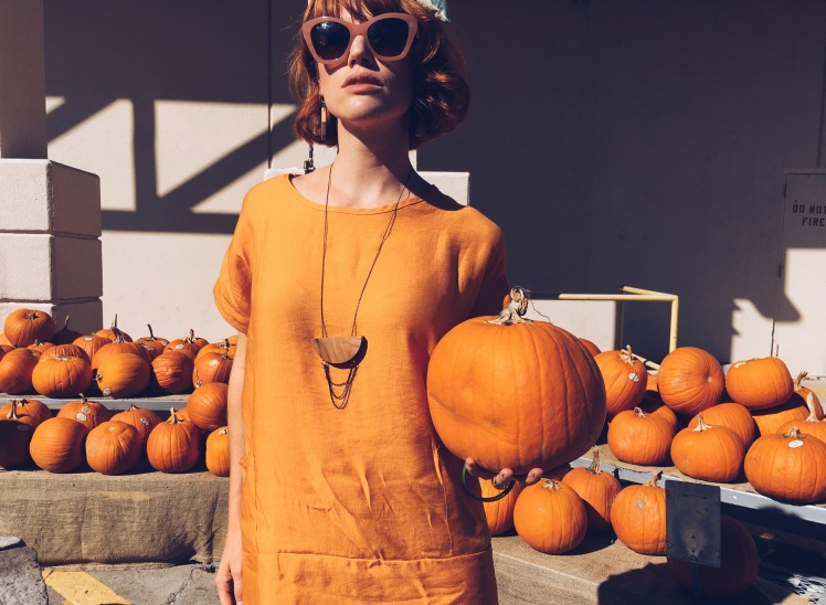 pumpkin, thrifted fashion
